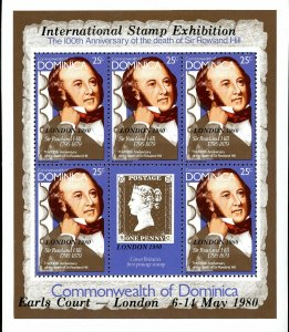 Dominica Stamp Sc#663A - 1980 - S/Sheet - Sir Rowland Hill - Overprinted LON...