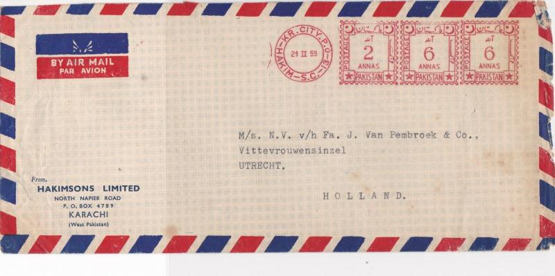 Pakistan 1959 Airmail From Hakimsons Ltd Meter Mail Stamps Cover Ref 29344