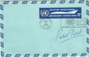 United Nations New York  UC7  FDC  Robert Perrot Designer Autograph  Air Letter