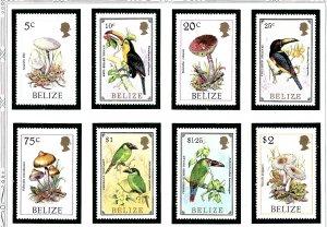 Belize 843-50 MNH 1986 Mushrooms and Birds