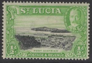ST.LUCIA SG113 1936 ½d BLACK & BRIGHT GREEN p14 MTD MINT