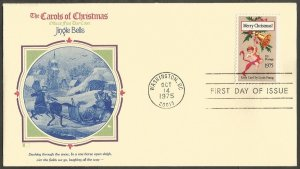 US FDC.CAROLS.1975 CHRISTMAS STAMP-EARLY CARD BY LOUIS PRANG. JINGLE BELLS