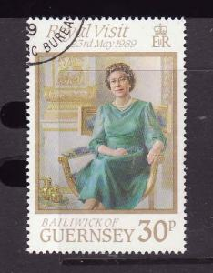 Guernsey-Sc#410-used-QEII visit-1989-Royalty-