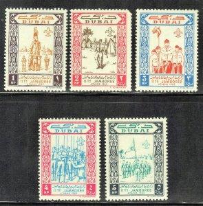DUBAI SC # 28-32 **MH** 1964  BOY SCOUTS SEE SCAN