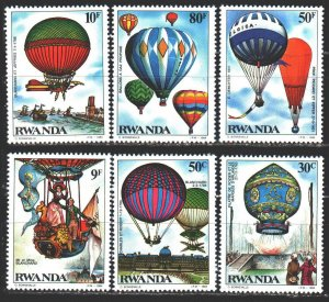 Rwanda. 1984. 1268-73 from the series. Balloons. MNH.