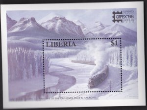LIBERIA SCOTT NO  1205 WINTER TRAIN, CAPEX '96 MINT NH