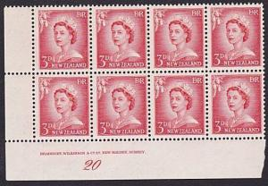 NEW ZEALAND 1955 3d large figures plate block #20 MNH......................8536
