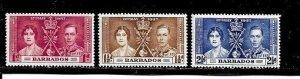 Barbados Stamp- Scott # 190-192/CD302-Set-Mint/VLH-1937-OG