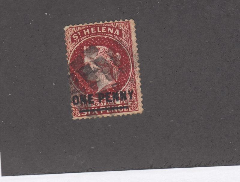 ST HELENA # 29 QUEEN VICTORIA ONE PENNY SURCHARGE ON 6p CAT VALUE $22.50