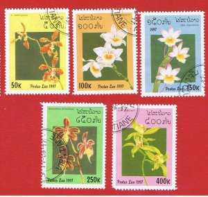 Laos #1322-1326  VF used  Orchids  short set   Free S/H