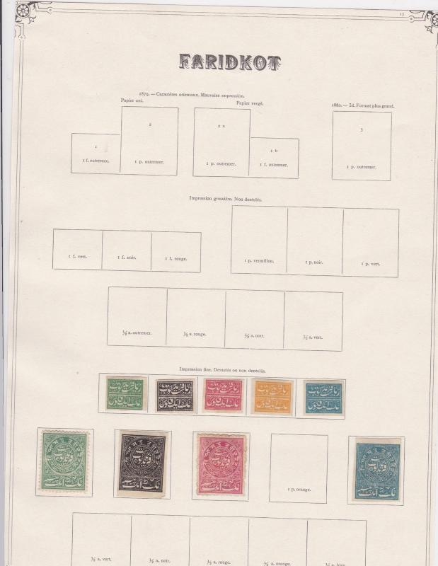 india states faridkot stamps on 1 album page ref 13426