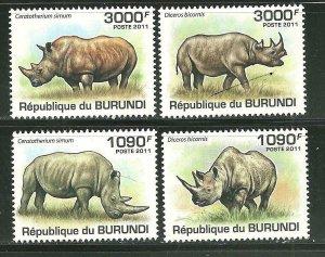 Burundi MNH 532-5 Rhinoceros 2011 SCV 13.50