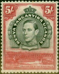 K.U.T 1944 5s Black & Carmine SG148 P.13.25 Fine Mtd Mint