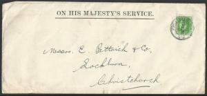 NEW ZEALAND 1932 OHMS cover, GV ½d Official, Point Chevalier cds...........62007