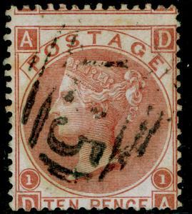 SG113, 10d pale red-brown, FINE USED. Cat £130. A25 MALTA. DA