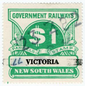 (I.B) Australia - NSW Government Railways : Parcels Stamp $1 (Victoria)