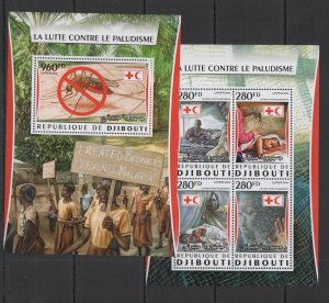 DJ041 2016 DJIBOUTI RED CROSS FIGHT AGAINST MALARIA INSECTS KB+BL MNH