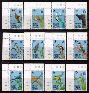 VIRGIN ISLANDS Sc# 490 - 508 MNH VF Set19 Corner MGN P# Bird