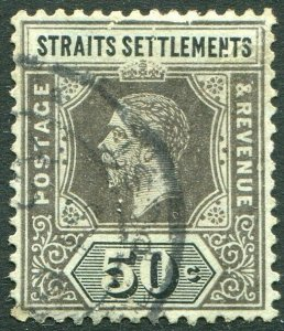 STRAITS SETTLEMENTS-1918 50c Black/Blue-Green olive back Sg 209a GU V50201