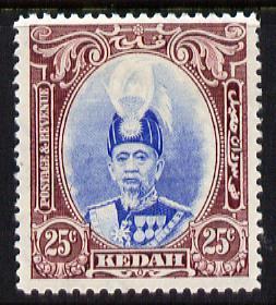 Malaya - Kedah 1937 Sultan 25c ultramarine & purple f...