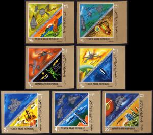 Yemen/YAR Mi #928-934-imperf set/7 mnh 1969 Discoveries Universe astronomy space