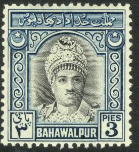PAKISTAN BAHAWALPUR 1948 3p Muhammed Khan V Portrait Issue Sc 2 MH