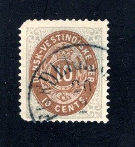 Danish West Indies #10,  F/VF,  Used  CV $25.00 ....1630058