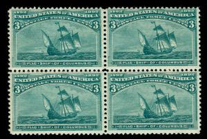 MOMEN: US STAMPS #232 BLOCK OF 4 MINT OG NH INTACT
