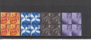 SCOTLAND REGIONAL DEFINITIVES 1999-2000 IN BLOCKS 4 UMM/MNH FACE 12.60