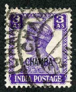 CHAMBA STATE SG114 KGVI 3a Bright Violet (litho) Fine Used (genuine postmark)