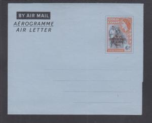 Ghana H&G FG3 mint 1957 6p QEII Aerogramme w/ Independence overprint, F-VF