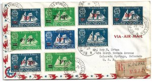 St. Pierre & Miquelon - 1948 Reg cover to USA - 1945 Schooner Surcharges (all 8)