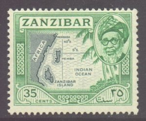 Zanzibar Scott 255 - SG364, 1957 Sultan 35c MH*