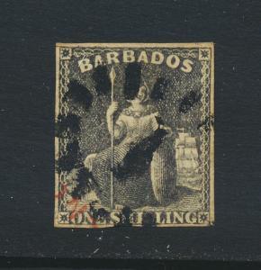 BARBADOS 1858, 1sh BROWN BLACK, VFU SG#12 CAT£110 $140 (SEE BELOW