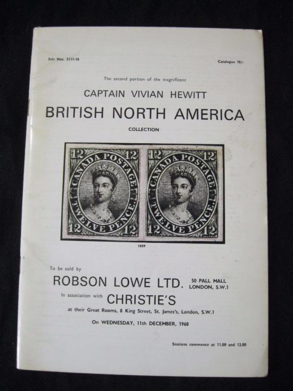 ROBSON LOWE AUCTION CATALOGUE 1968 BRITISH NORTH AMERICA 'HEWITT' COLLECRION