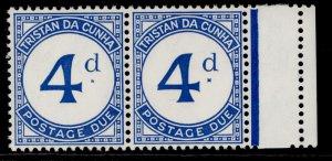 TRISTAN DA CUNHA QEII SG D4 + D4a, 4d ultramarine BROKEN d, NH MINT. Cat £60.