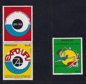 Paraguay  #C389-391  MNH  1974   MNH  UPU .  olympics   .. Mariner
