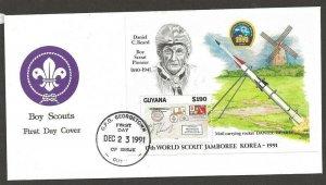1991 Boy Scouts Guyana World Jamboree Korea SS rocket Dan Beard FDC