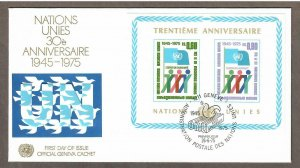 UN Geneva # 52 S/S , 30th Anniversary of the UN , FDC - I Combine S/H