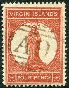 BRITISH VIRGIN ISLANDS-1887-89 4d Chestnut Sg 35 FINE USED V33667