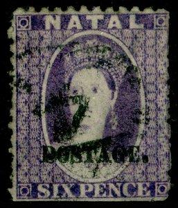 SOUTH AFRICA - Natal SG55, 6d violet, USED. Cat £70.