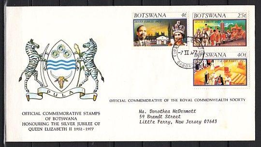 Botswana, Scott cat. 179-181. Queen Elizabeth`s 25th Anniv. First day cover.
