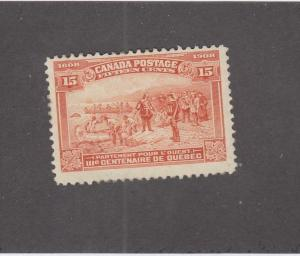 CANADA (MK3585) # 102  FVF-MVLH  15cts CHAMPLAIN DEPARTS /ORANGE CAT VALUE $250