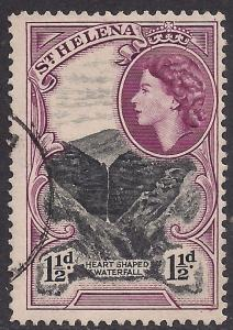 St Helena 1953 - 59 QE2  1 1/2d  Heart Shaped Waterfall SG 155 ( K162 )