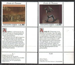 UN Geneva. 1992. 223-24. Declaration of Human Rights, English, Art. MNH.