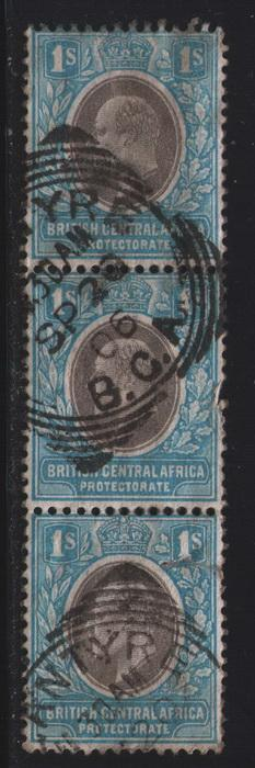 British Central Africa #  64  Used VF strip of 3 Cat $ 45