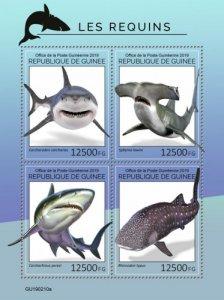 GUINEA - 2019 - Sharks - Perf 4v Sheet - M N H