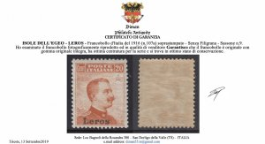 ITALY -EGEO LEROS n 9 MNH** cv 600$ no watermark SUPER CENTERED with CERTIFICATE