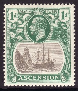 1924 Ascension King George V KGV 1p Badge of the Colony MMH Sc# 11 CV $7.00
