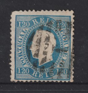 Portugal a used 120r straight label from the 1870 set
